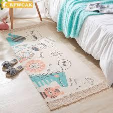 Cartoon Hand Woven Cotton Linen Carpet Bedside Rug Kids Room Floor Mat Living Room Rugs Bedroom Tapete Para Sala Home Decoration Carpet Aliexpress
