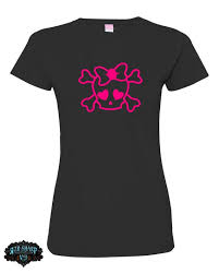 Skull With Bow T Shirt And 1 Free Skull 5 Hot Pink Vinyl Etsy