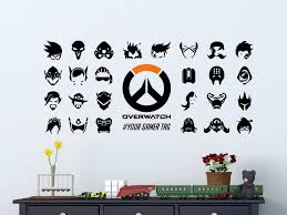 Overwatch Hero Symbols Personalized Vinyl Wall Decal Sticker Hero Symbol Overwatch Decal Gamer Decor