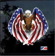 American Flag Bald Eagle Full Color Decal Sticker Custom Sticker Shop
