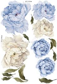Blue White Peony Floral Bouqets With Green Leaves Wall Decal Sticker Wall Decals Wallmur