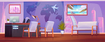 travel agency office interior with
