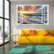 New Product 3d Windows Decal Wall Sticker Home Decor Sunrise Beach Waves Art Wallpaper Mural Gift Home Decal Gift Stickers Home Decor Wall Stickerwall Stickers Home Decor Aliexpress