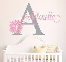 Amazon Com Personalized Flowers Name Wall Decal Girls Kids Room Decor Nursery Wall Decals Flower Decals For Girls Room 40wx22h Baby