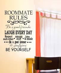 College Dorm Roommate Rules Vinyl Wall Decal With Decorative Scroll Letters Lettering Size Options