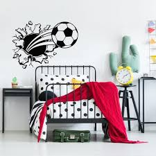 Soccer Ball Wall Decal Soccer Ball Bursting Through Wall Decal Sports Wall Decal For Boys Teenager Boy Gifts Kids Room Wall Decal Sb59 In 2020 Kids Room Wall Decals Kids