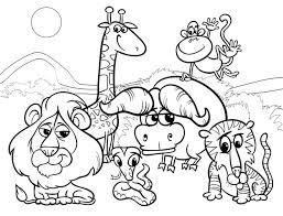 Wilde Dieren Cartoon Kleurplaat Premium Vector