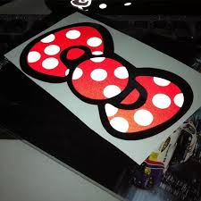 6 Bow Car Decals Stikers Polka Dots Red Yellow Blue And Pink Carsoda