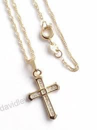 rhinestone cross necklace 17 inches 18k