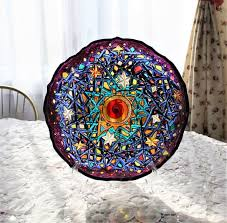 stained glass fruit plate with stand