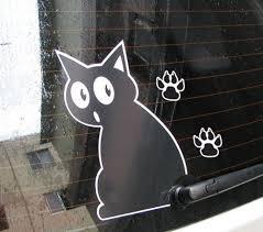 Fun Decals Sticker For Car Surprised Cat Wagging Tail Tekenen