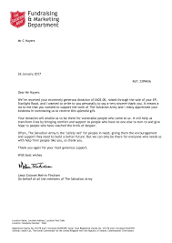 salvation army thank you letter for