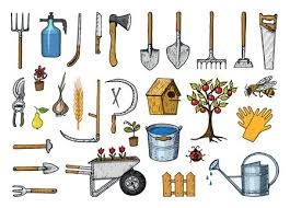 Set Of Gardening Tools Or Items Hose Reel Fork Spade Rake Hoe Trug Cart Lawnmower Elements Collection Work Equipment Shovel Fence Tree Saw Watering Can Ax Engraved Hand Drawn In Old Sketch