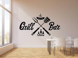 Vinyl Wall Decal Grill Bar Bbq Barbecue Sausage Decor Interior Art Sti Wallstickers4you