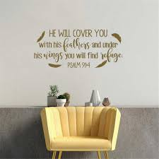 Psalm He Will Cover You With His Feathers Bible Verse Wall Decal Family Vinyl Wall Sticker Christian Scripture Wall Decor Wall Stickers Aliexpress