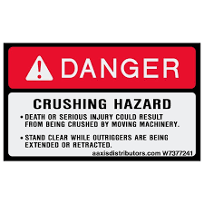 Crushing Hazard Safety Decal 3 X 5 W7377241 Vinyl Decals Aaxis Distributors