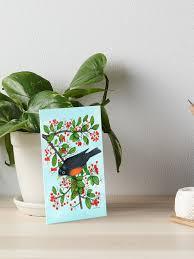 "Robin & Holly"" Art Board Print by wendimooreart | Redbubble"