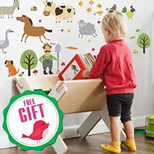 Amazon Com Farm Animal Barnyard Wall Decals For Kids Farming Baby Room Children Stickers For Toddlers Bedroom Animal Wall Decor Nursery Art 40 Art Playroom Clings Free Bird Gift Baby