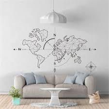 Large World Map Compass Earth Wall Sticker Office Classroom World Map Global Exploration Adventure Wall Decal Vinyl Decor Wall Stickers Aliexpress