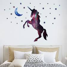 Cute Unicorn Horse Moon And Bling Stars Vinyl Art Wall Decal Stickers Home Room Decoration Wish