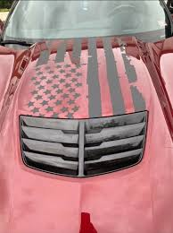 Combo Deal Corvette Distressed Flag With Hood Decal And Rear Quarter Window Decals C7 Performance