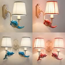 Dolphin 1 2 Light Wall Light Sconce Seaside Blue Pink Fabric Lighting Fixture For Kids Bedroom Beautifulhalo Com