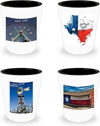 set of 4 texas themed shot glasses