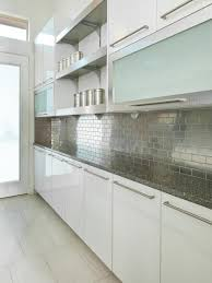 silver subway tile backsplash