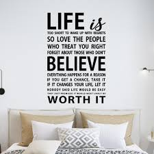 Vwaq Life Is Too Short To Wake Up With Regrets Vinyl Wall Decal Inspirational Quotes 18092 30 H X 22 W Walmart Com Walmart Com