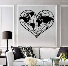 Wall Stickers World Atlas Earth Love Geography Peace Vinyl Decal Uniqu Wallstickers4you