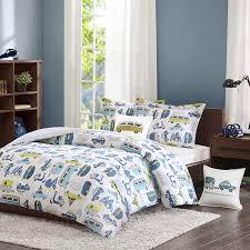 Amazon Com Ink Ivy Kids Road Trip Twin Bedding White Blue Car 3 Pieces Boy Set 100 Cotton Kid Childrens Bedroom Comforters Multi Home Kitchen