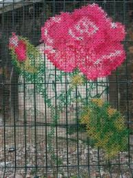Stitched On Chicken Wire Embroidered Art Yarn Bombing Street Art