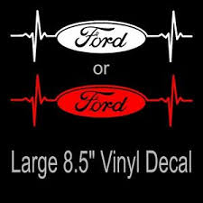 Ford Heartbeat Large 8 5 Vinyl Decal Sticker White Or Red Mustang F 150 Focus Ebay