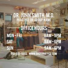 Doctor Office Hours Window Decal Small Store Decals