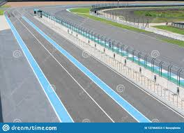 Asphalt Road Vehicle Track With Fence In Outdoor Circuit Race Track With Curve Road For Car Racing Stock Image Image Of Post Competition 127468223