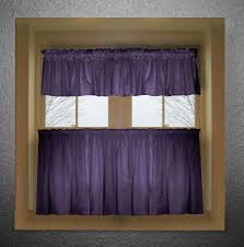 solid purple colored kitchen curtain
