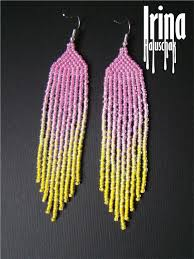 pink and yellow beaded earrings summer