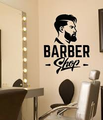 Wall Sticker Vinyl Decal Hair Salon Logo Barber Tools Haircut Stylist Ig633