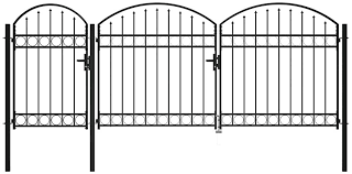 Driveway Gates Outdoor Entrance Swing Gate Garden Fence Gate With Arched Top Steel 1 75x4 M Black Amazon Co Uk Kitchen Home
