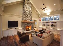 stacked stone fireplace cabin ideas