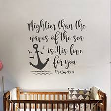 Amazon Com Battoo Bible Verse Wall Decal Mightier Than The Waves Of The Sea Is His Love For You Scripture Wall Decal Psalm 93 4 Nautical Nursery Wall Decal Quote Navy Blue 28 Wx26 H