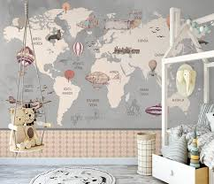 Kids World Map Wall Mural Children Room Removable Wall Paper Etsy