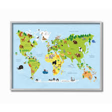 Shop The Kids Room By Stupell World Map Cartoon And Colorful Grey Framed 11 X 14 Proudly Made In Usa 11 X 14 Overstock 30335101