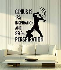 Amazon Com Vinyl Wall Decal Genius Quote Inspire Motivation Work Art Stickers Mural Large Decor Ig5186 Black Home Kitchen