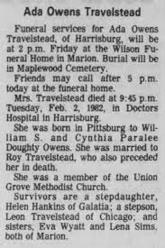 Obituary for Ada Owens Travelstead - Newspapers.com