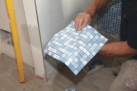 installing glass tile with mesh backing