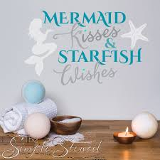 Mermaid Kisses Starfish Wishes Beach Inspired Wall Decals Stencils And Stickers