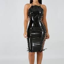 black shiny leather laceup side midi