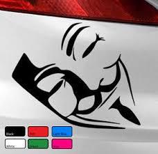 Vendetta Anonymous Mask Vinyl Decal Sticker Car Van Bike Pc Laptop Funny Window Vinyl Decals Vinyl Decal Stickers Funny Car Decals