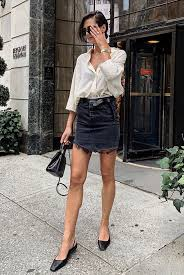 denim skirt outfit for a night out